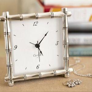 Pottery Barn silver bamboo clock